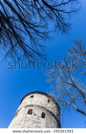View of fortress towers on sky background. Tallinn. Estonia - stock photo