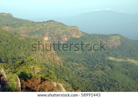 View of Fouta Djalon mountains from Mount Loura at sunrise - stock photo
