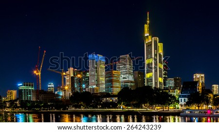 View of Frankfurt am Main skyline at sunset in Germany