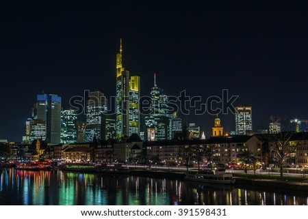 view of Frankfurt downtown from Main river at night, Germany - stock photo