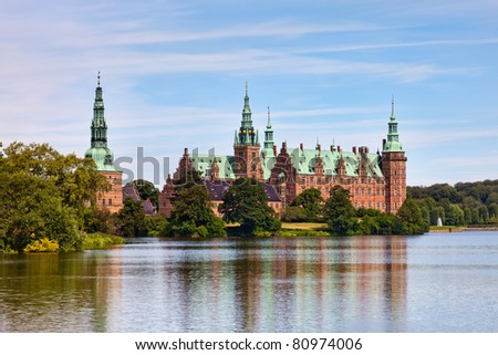 View of Frederiksborg castle in Hillerod, Denmark - stock photo