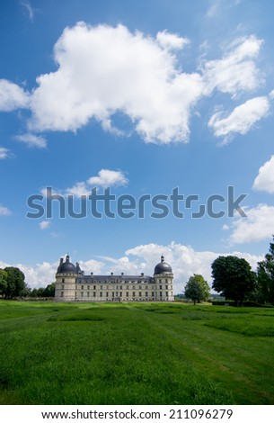 view of french castle chateau Valencay - stock photo