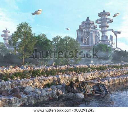 view of Futuristic City with flying spaceships and old boat and modern concept - stock photo