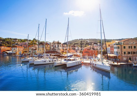 View of Gaios town, Paxos island, Greece - stock photo