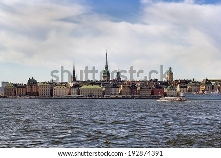 view of Gamla Stan from Baltic sea in Stockholm, Sweden
