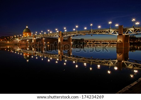 View of Garonne river in Toulouse city center at sunset - stock photo