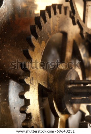 View of gears from clock old mechanism - stock photo