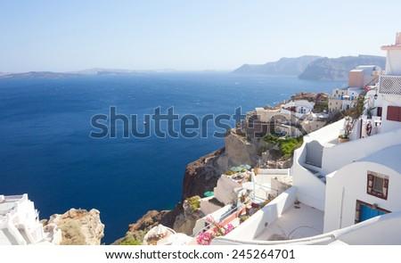View of generic village at Santorini island, Greece. - stock photo