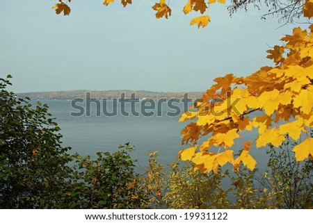 View of Geneva Lake in the fall, in Wisconsin - stock photo