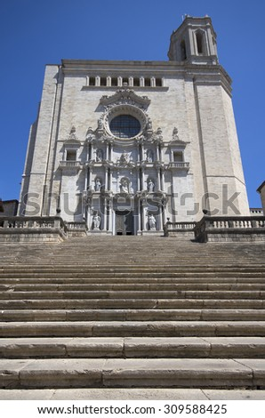 View of Girona cathedral,Catalonia,Spain - stock photo