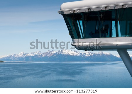 View of Glacier Bay National Park in Alaska from the bridge of a  Cruise Ship - stock photo