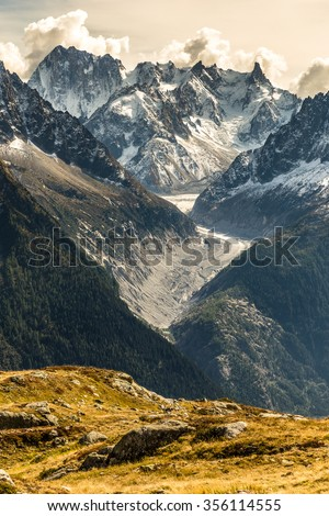 View Of Glacier d Argentiere And Mountain Range In The Background-Mont Blanc Area, France - stock photo