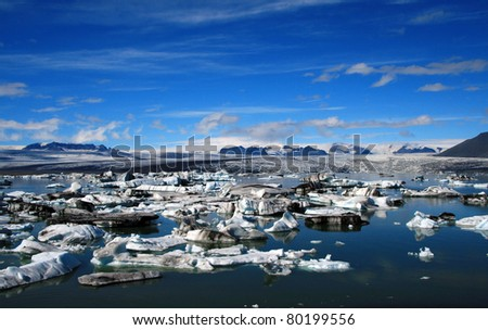 view of glacier lagoon - stock photo