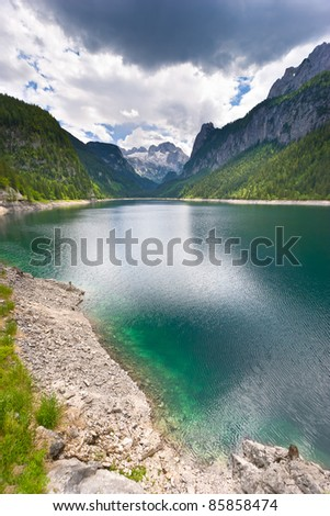 View of glacier. Lake Gosausee. Austria.