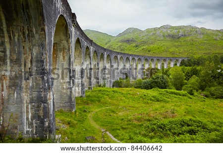 View of Glenfinnan Viaduct, Scotland,  head of Loch Shiel - stock photo