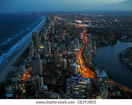 View of Gold Coast skyline and coastline Australia at night time - stock photo