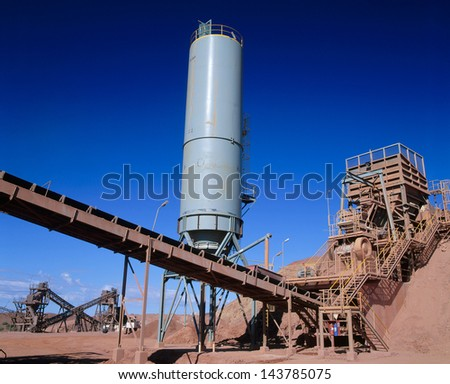 View of Gold Mining processing plant in the desert of Australia - stock photo