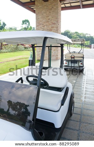 view of golf cart at club house - stock photo