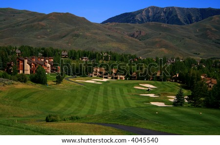 View of golf course in famous Idaho resort - stock photo