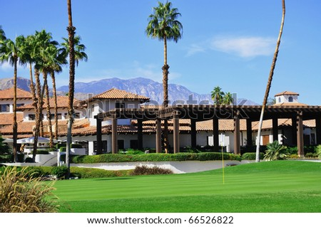 View of Golf Resort in Palm Springs California - stock photo