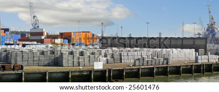 View of goods stations in a harbour - stock photo