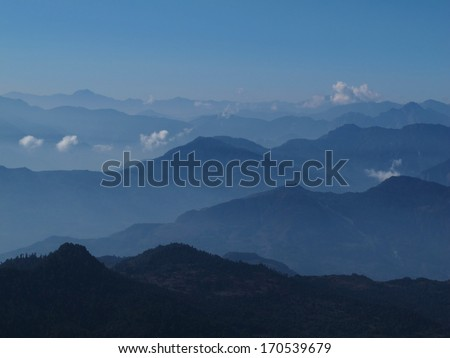 View of Gorepani, Poon Hill and mountain ranges in Central Nepal