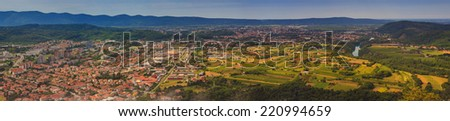 View of Gorizia and Nova Gorica from sabotin mountain - stock photo