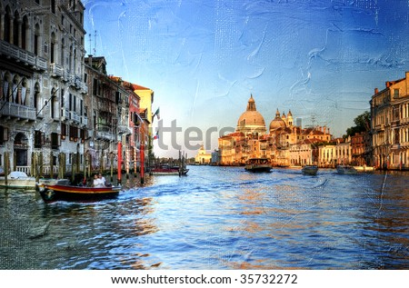 view of Grand canal on sunset - Venetian pictures in painting style - stock photo