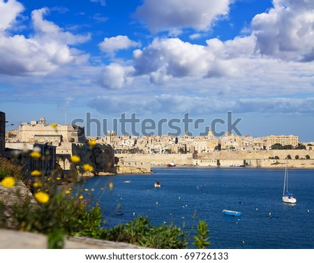 View of Grand Harbour and Valletta from Vittoriosa, Malta - stock photo