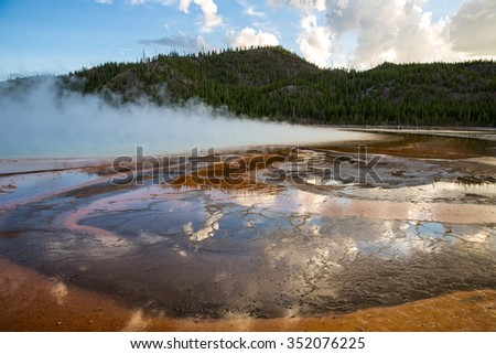 View of Grand Prismatic Spring in Yellowstone National Park, USA.