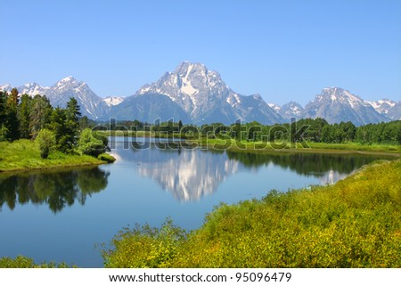 View of Grand Teton National Park over the Snake River in Wyoming - stock photo