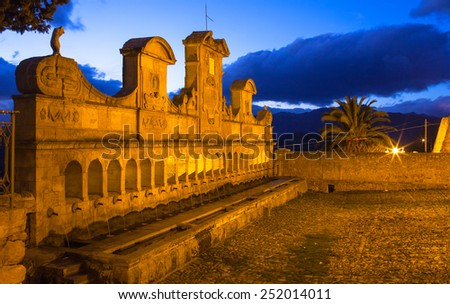 View of Granfonte the Leonforte monument at sunset - stock photo