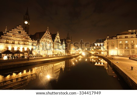 view of graslei embankment in  ghent old town, Belgium - stock photo