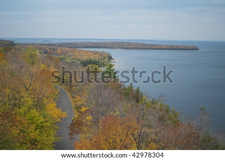 View of Green Bay and Sturgeon Bay in Wisconsin's Door County from atop observation tower in Potawatomi State Park - stock photo