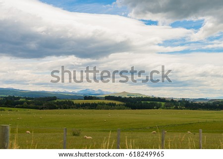 view of Green hills and valleys of the South Island, New Zealand