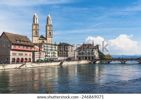 View of Grossmunster Church in Zurich old town, on the river side of Limmat, Zurich, Switzerland - stock photo
