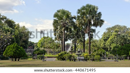 View of grounds inside Spanish colonial Fort Santiago in Manila, Philippines - stock photo