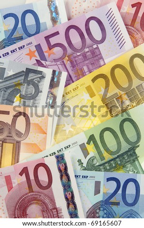 view of group of  European banknotes - stock photo