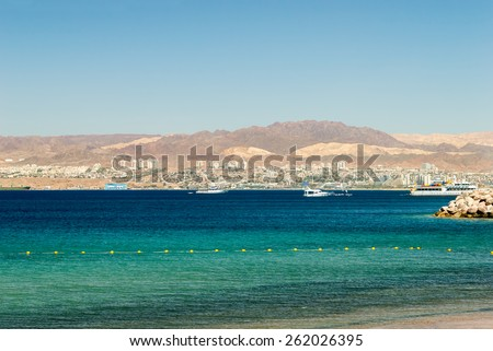 view of Gulf of Aqaba with Eilat city on background  - stock photo