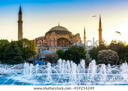 View of Hagia Sophia with a fountain in sunrise time, Istanbul, Turkey.