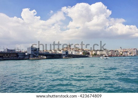 View of Halic bridge and Galata tower and boats passing