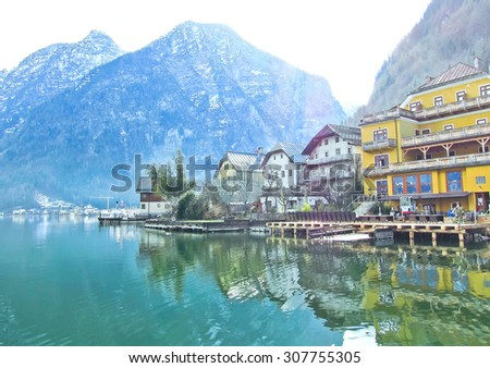 View of Hallstatt village in Alps, Austria - stock photo