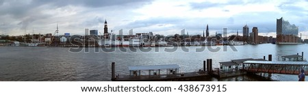 View of Hamburg in Germany with the river Elbe