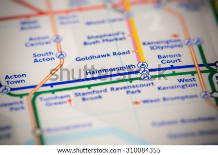 View of Hammersmith station on a London subway map. - stock photo