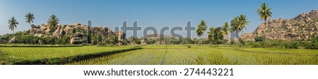 View of Hampi's boulder strewn landscape with rice paddies and palm trees - stock photo