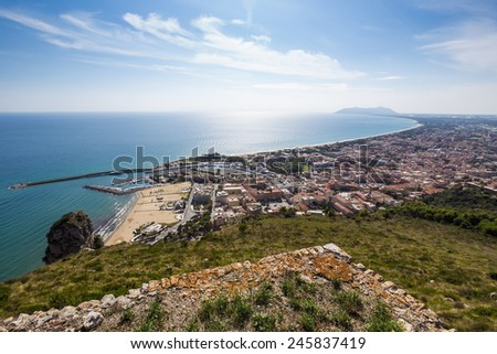 view of harbor and seacoast of Terracina, Lazio, Italy