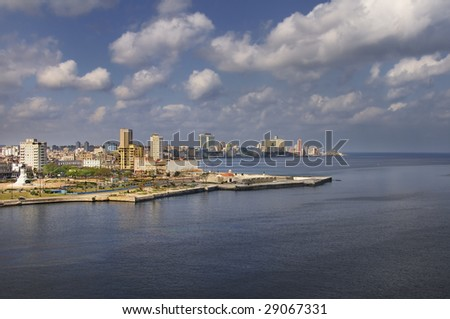 View of Havana bay entrance and city skyline