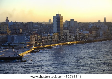 View of Havana waterfront and skyline at sunset - stock photo