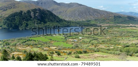 View of Heally Pass at Beara peninsula, Ireland - stock photo
