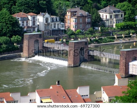 View of Heidelberg old town from across the River Neckar, Germany - stock photo